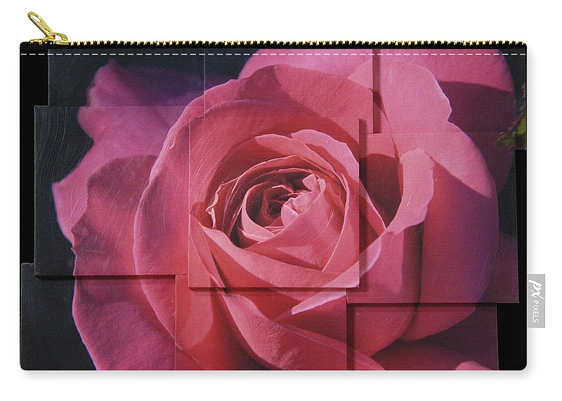 Rose Carry-all Pouch featuring the sculpture Pink Rose Photo Sculpture by Michael Bessler