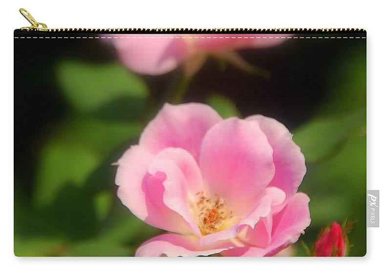 Pink Rose Carry-all Pouch featuring the photograph Pink Rose by Susanne Van Hulst