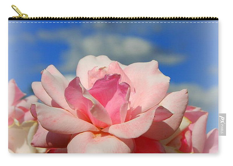 Rose Carry-all Pouch featuring the photograph Pink Roses Against The Beautiful Arizona Sky by Teresa Stallings