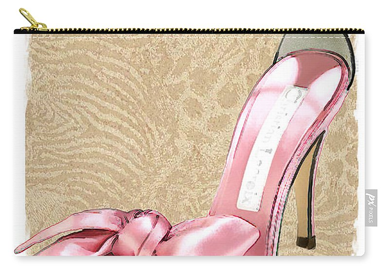 Shoes Heels Pumps Fashion Designer Feet Foot Shoe Stilettos Painting Paintings Illustration Illustrations Sketch Sketches Drawing Drawings Pump Stiletto Fetish Designer Fashion Boot Boots Footwear Sandal Sandals High+heels High+heel Women's+shoes Graphic Sophisticated Elegant Modern Carry-all Pouch featuring the painting Pink Satin Ankle Straps On Safari by Elaine Plesser