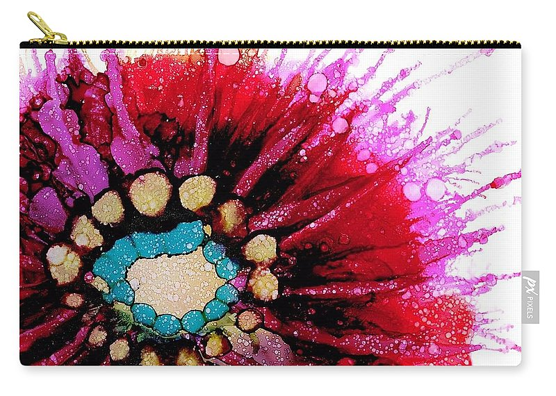 Flower Carry-all Pouch featuring the painting Pink Shadow by Beth Kluth