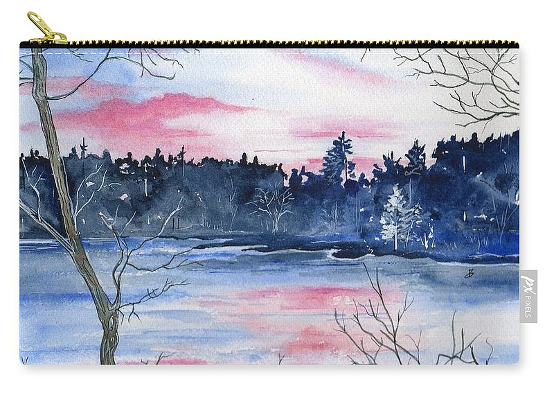Watercolor Carry-all Pouch featuring the painting Pink Sky Reflections by Brenda Owen