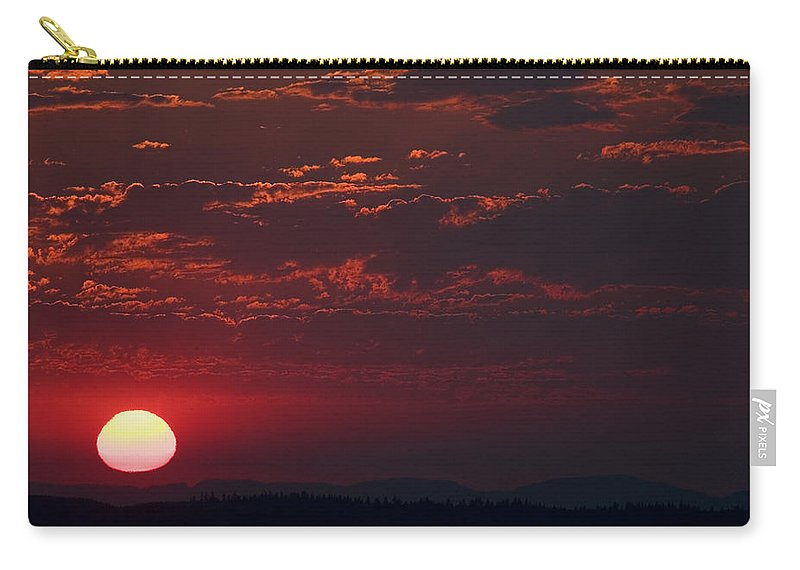 Sunset Carry-all Pouch featuring the photograph Pink Sun by Karen Ulvestad