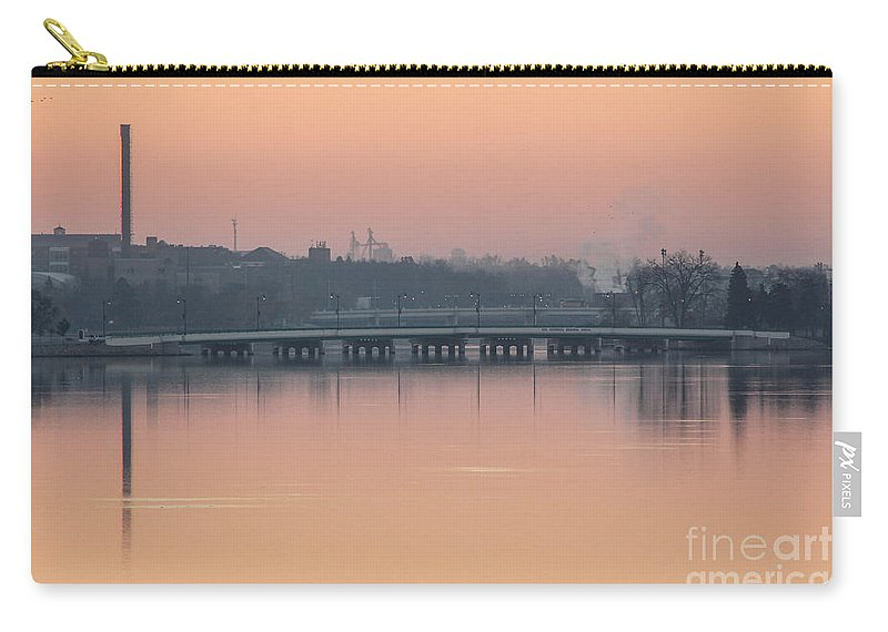 Beloit Carry-all Pouch featuring the photograph Pink Sunrise Over The Rock River by Viviana Nadowski