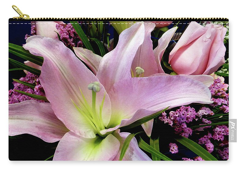 Pink Tiger Lily Carry-all Pouch featuring the photograph Pink Tiger Lily by To-Tam Gerwe
