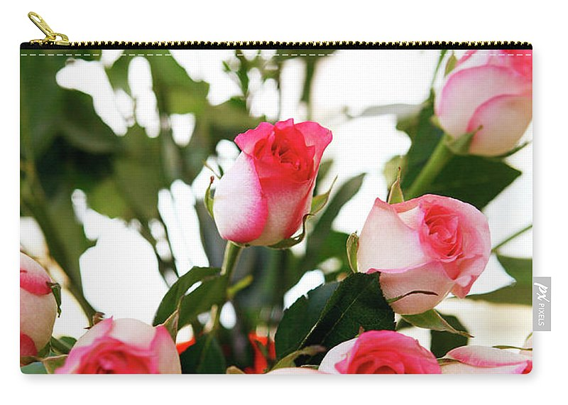 Pink Carry-all Pouch featuring the photograph Pink Trimmed Roses by Marilyn Hunt