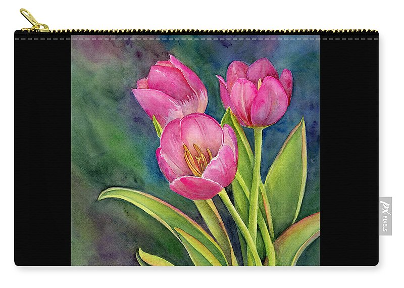 Pink Carry-all Pouch featuring the painting Pink Tulip Twist by Amy Kirkpatrick