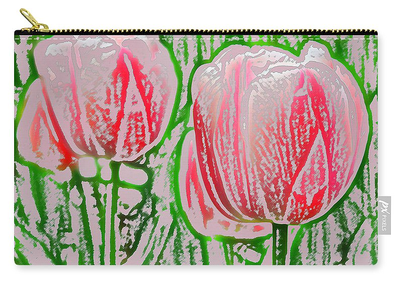 Tulip Carry-all Pouch featuring the photograph Pink Tulips With Block Effect by Donna Haggerty
