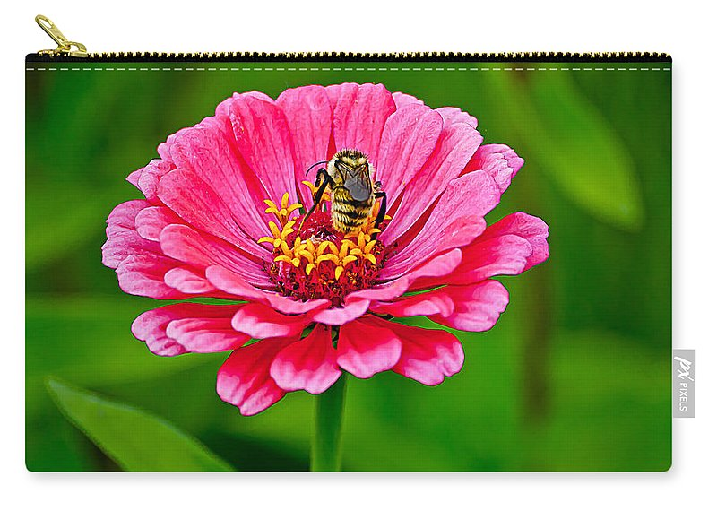 Bee Carry-all Pouch featuring the photograph Pink Zinnia Bee by Emerald Studio Photography