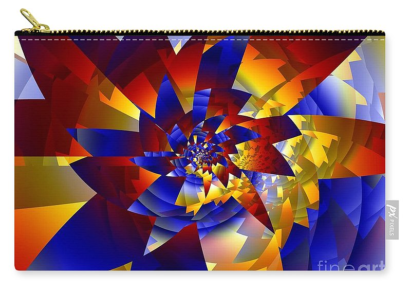 Pinwheel Carry-all Pouch featuring the digital art Pinwheel by Ron Bissett
