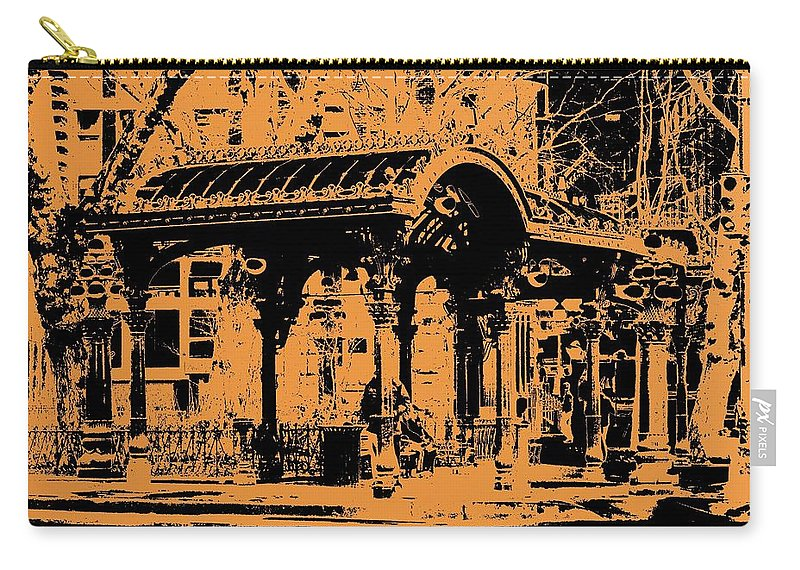 Seattle Carry-all Pouch featuring the digital art Pioneer Square Pergola by Tim Allen