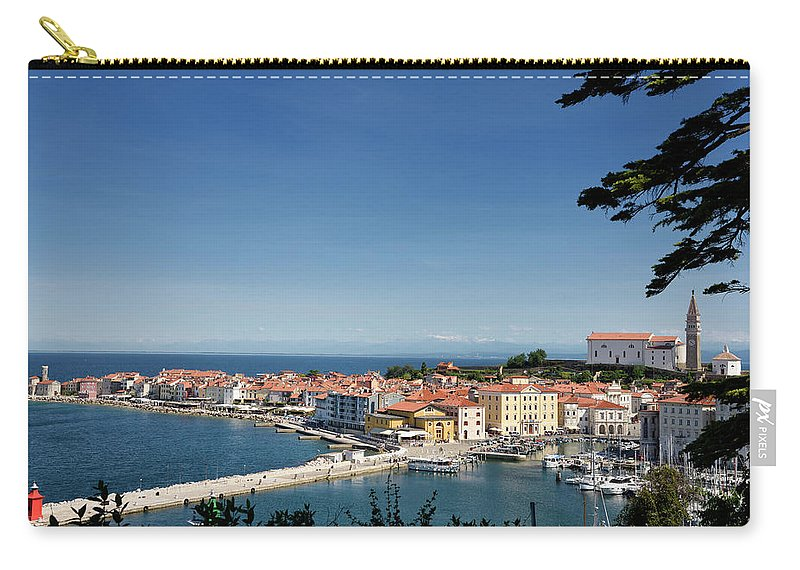 Piran Carry-all Pouch featuring the photograph Piran Slovenia Gulf Of Trieste On The Adriatic Sea From The Punt by Reimar Gaertner