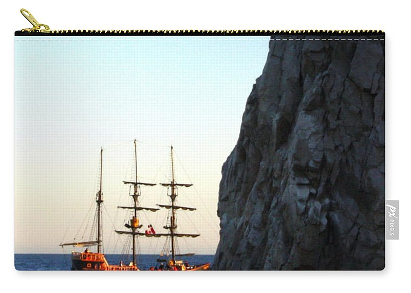 Pirate Ship Carry-all Pouch featuring the photograph Pirate Ship Sunset Sea Of Cortez Cabo by Charlene Cox