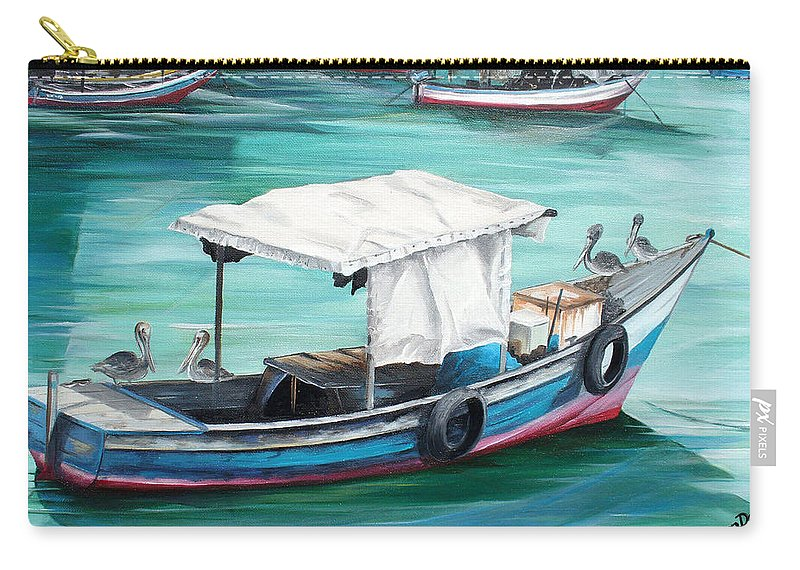 Fishing Boat Painting Seascape Ocean Painting Pelican Painting Boat Painting Caribbean Painting Pirogue Oil Fishing Boat Trinidad And Tobago Carry-all Pouch featuring the painting Pirogue Fishing Boat by Karin Dawn Kelshall- Best