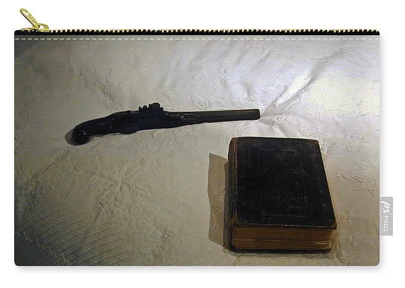 Pistol Carry-all Pouch featuring the photograph Pistol And Bible by Douglas Barnett