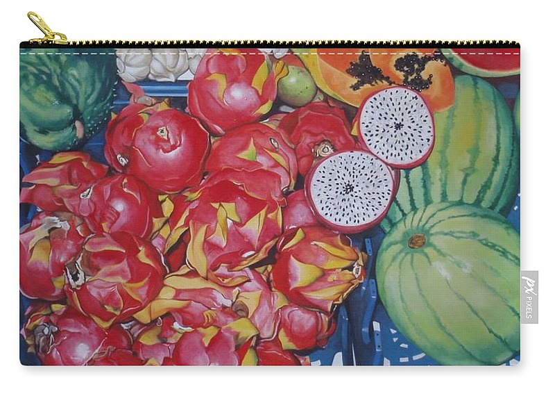 Hyperrealism Carry-all Pouch featuring the painting Pitahaya by Michael Earney