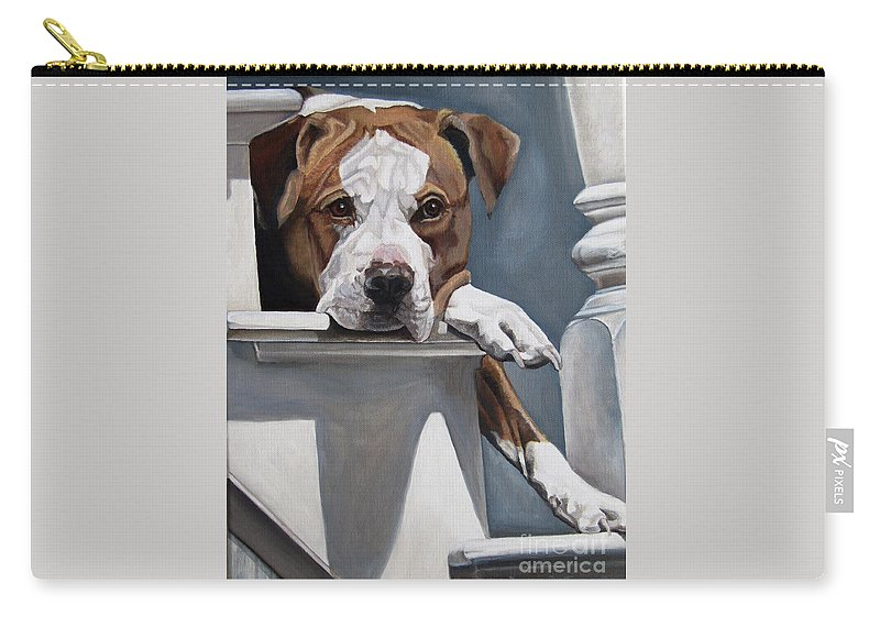 Pit Bull Carry-all Pouch featuring the painting Pitbull Stare by Heidi Parmelee-Pratt