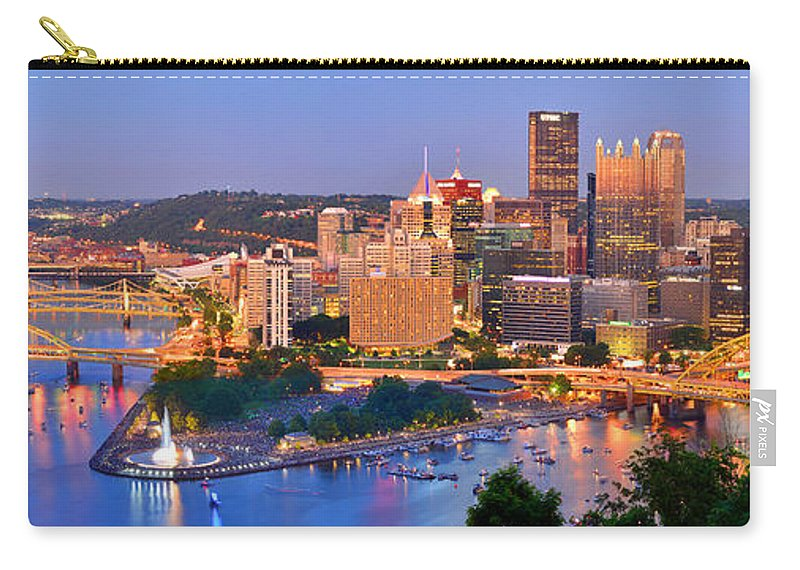 Pittsburgh Skyline Carry-all Pouch featuring the photograph Pittsburgh Pennsylvania Skyline At Dusk Sunset Panorama by Jon Holiday