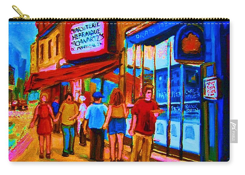 Schwartzs Hebrew Deli Carry-all Pouch featuring the painting Pizza To Go by Carole Spandau