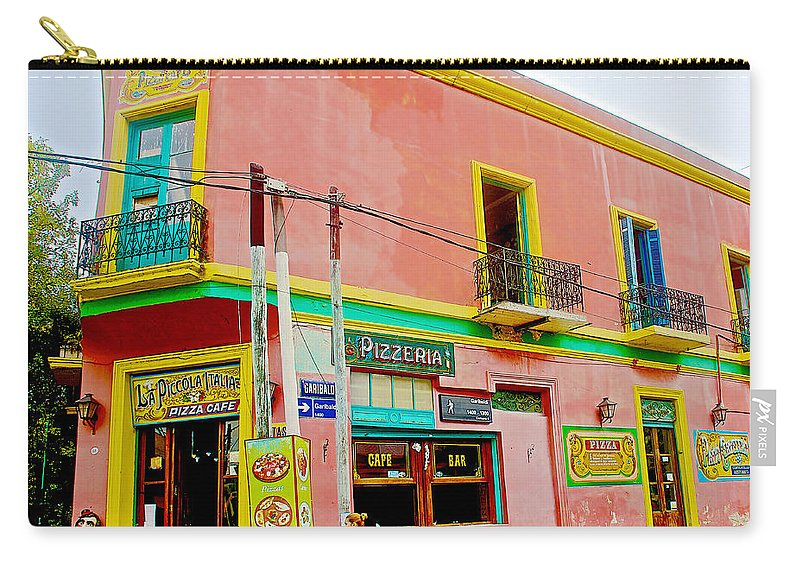 Pizzeria In La Boca Barrio In Buenos Aires Carry-all Pouch featuring the photograph Pizzeria In La Boca Area Of Buenos Aires-argentina by Ruth Hager