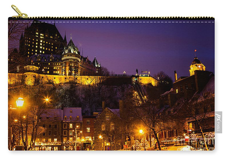 Place-royale Carry-all Pouch featuring the photograph Place-royale At Twilight Quebec City Canada by Dawna Moore Photography