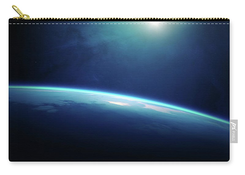 Earth Carry-all Pouch featuring the photograph Planet Earth Sunrise From Space by Johan Swanepoel