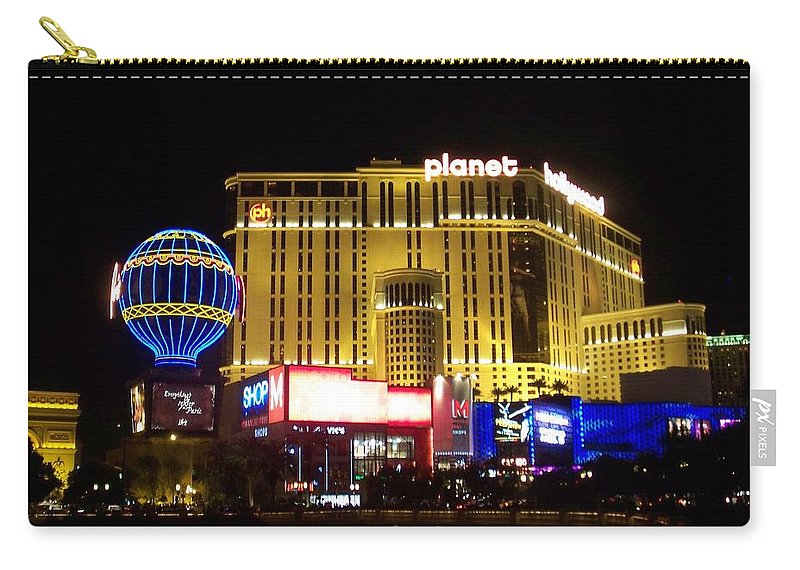 Vegas Carry-all Pouch featuring the photograph Planet Hollywood By Night by Anita Burgermeister
