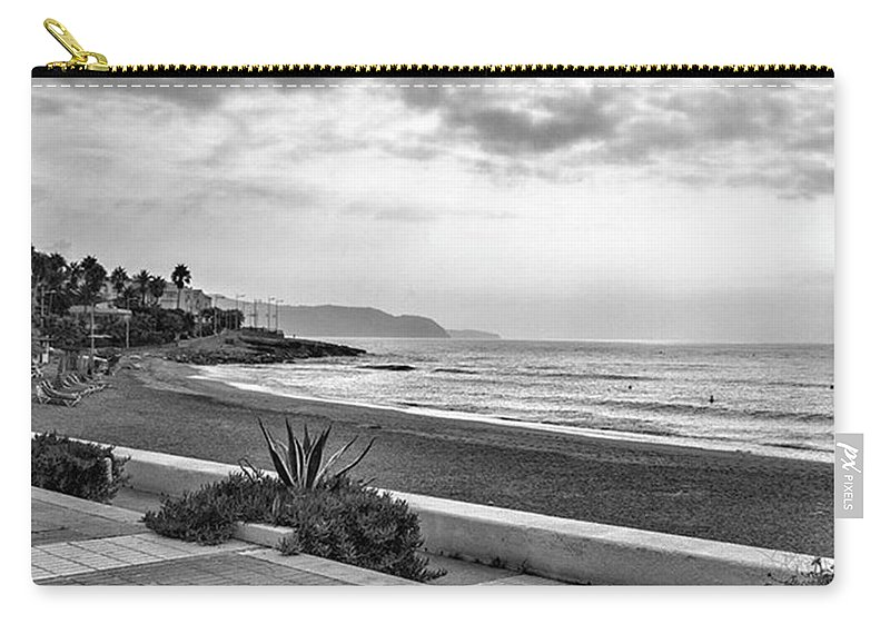 Monochromephotography Carry-all Pouch featuring the photograph Playa Burriana, Nerja by John Edwards