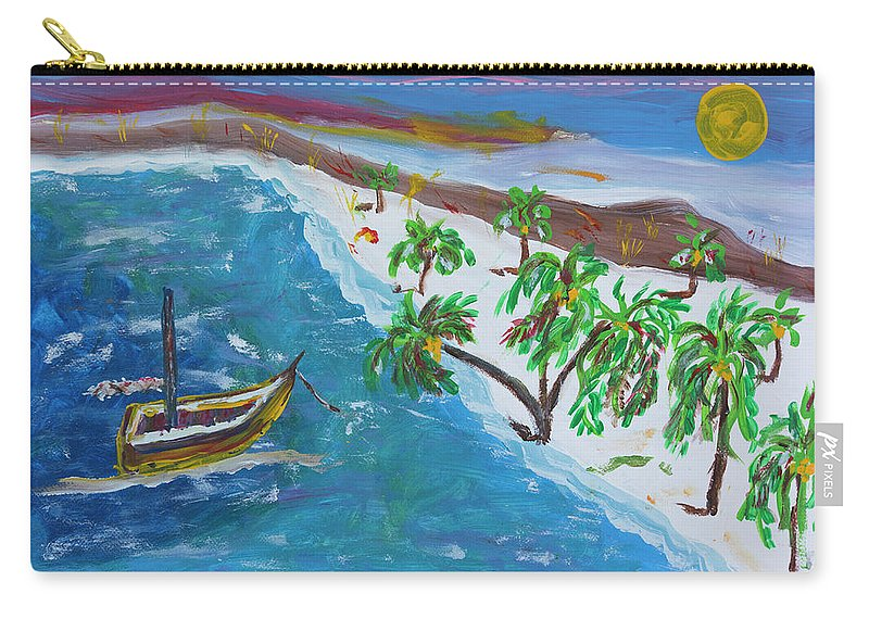 Beach Carry-all Pouch featuring the painting Playa Secreta II by Alfredo Correa