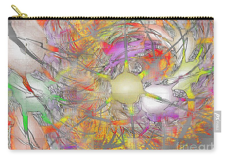 Fractal Carry-all Pouch featuring the digital art Playful Colors Of Energy by Deborah Benoit