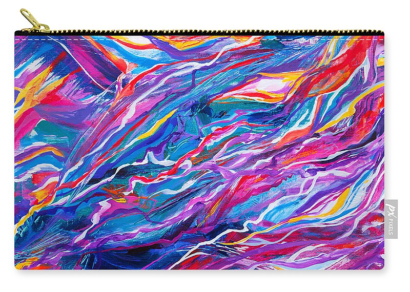 Filaments Lines Strokes Rushing Water Full Of Vibrant Color And Dynamic Movement Energy Contemporary Original Abstract Carry-all Pouch featuring the painting Playful stream by Priscilla Batzell Expressionist Art Studio Gallery