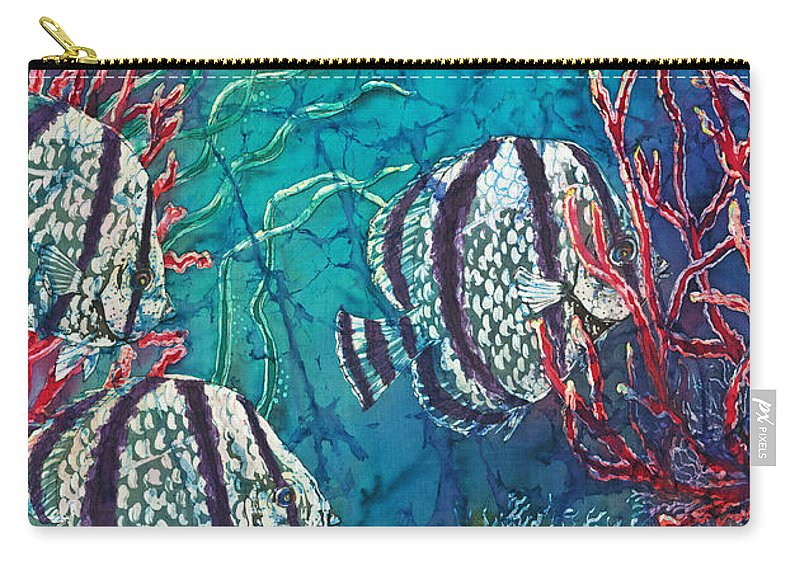 Fish Carry-all Pouch featuring the painting Playful Trio by Sue Duda
