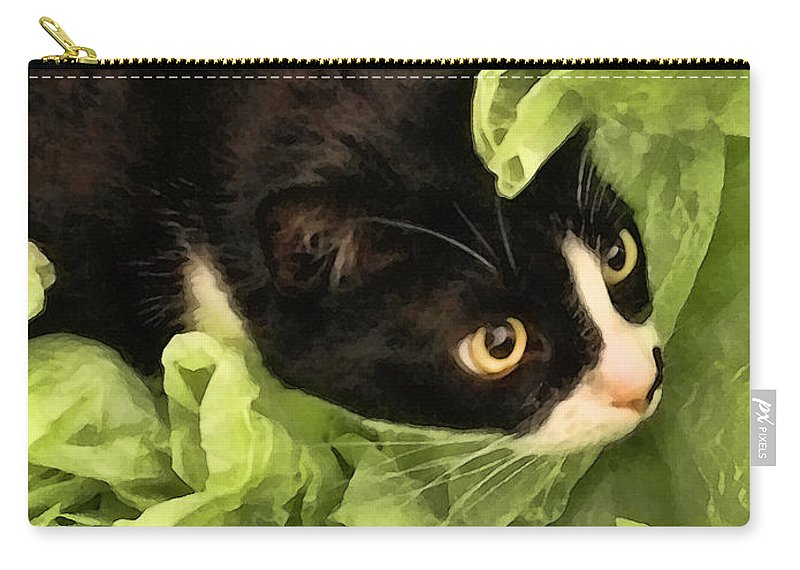 Tuxedo Carry-all Pouch featuring the photograph Playful Tuxedo Kitty In Green Tissue Paper by Kathy Clark