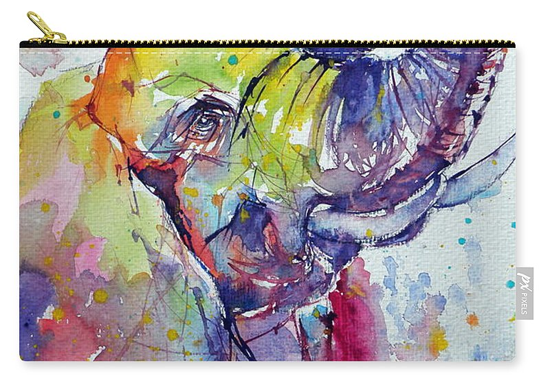 Elephant Carry-all Pouch featuring the painting Playing Elephant by Kovacs Anna Brigitta