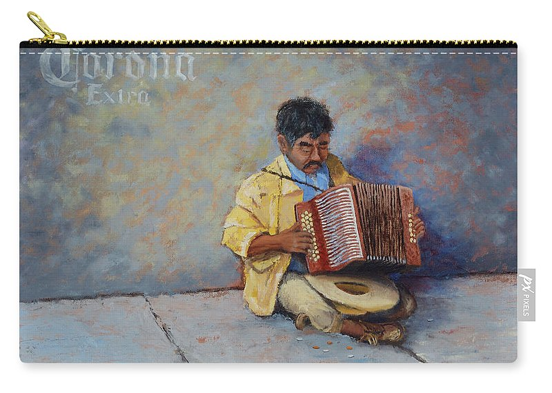 Mexico Carry-all Pouch featuring the painting Playing For Pesos by Jerry McElroy
