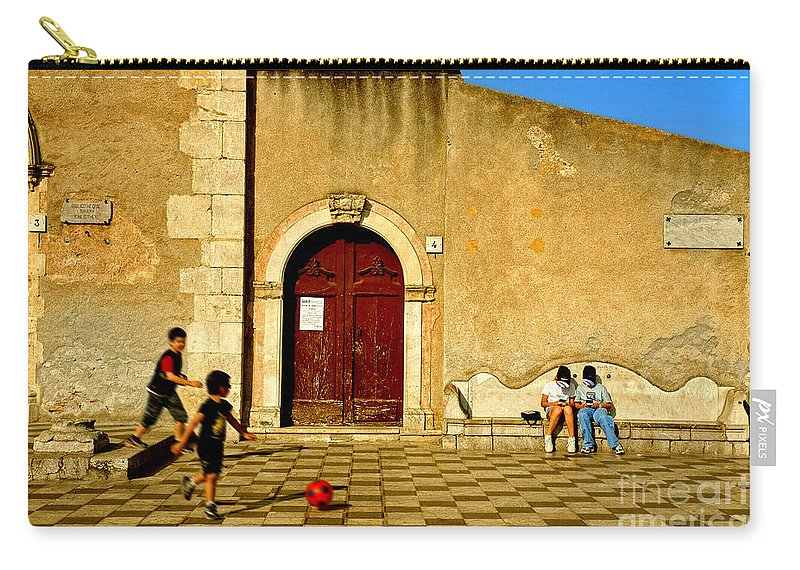Antique Carry-all Pouch featuring the photograph Playing In Taormina by Silvia Ganora