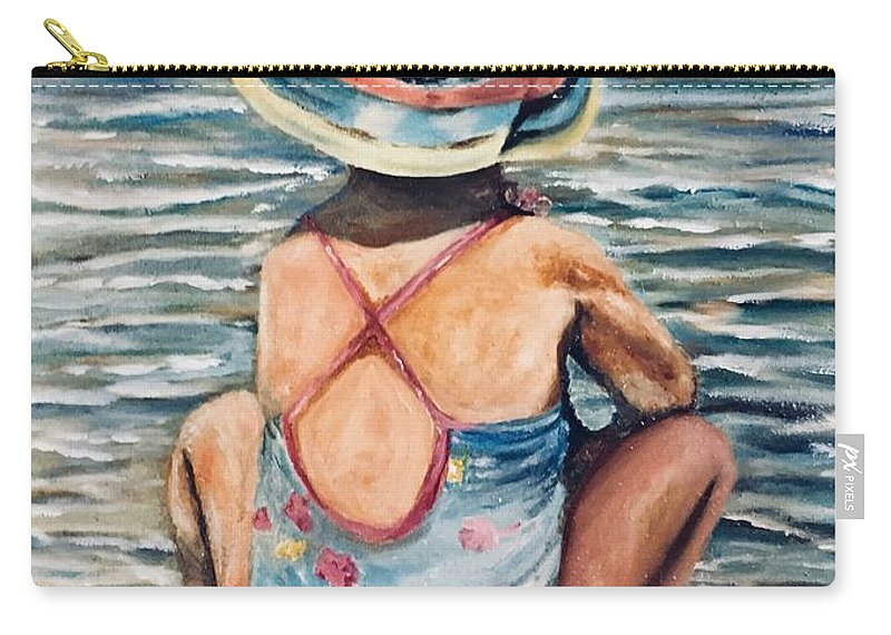 Water Scape Carry-all Pouch featuring the painting Playing In The Waves by Chuck Gebhardt