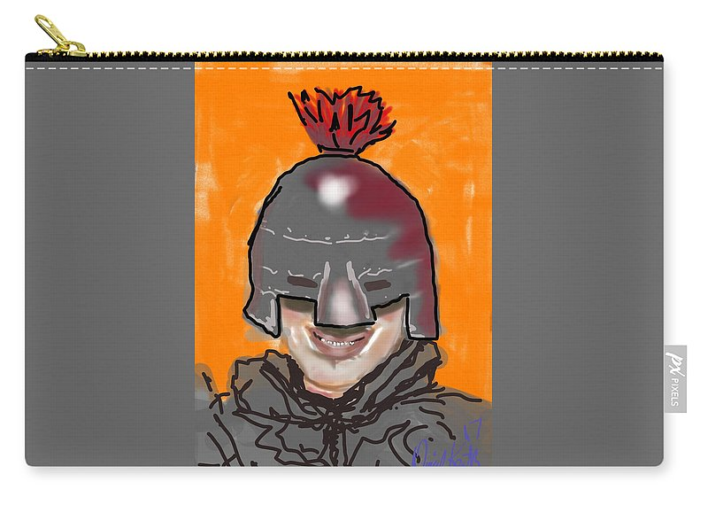 Orange Helmet Knight Feather Boy Carry-all Pouch featuring the digital art Playing Knight by David R Keith