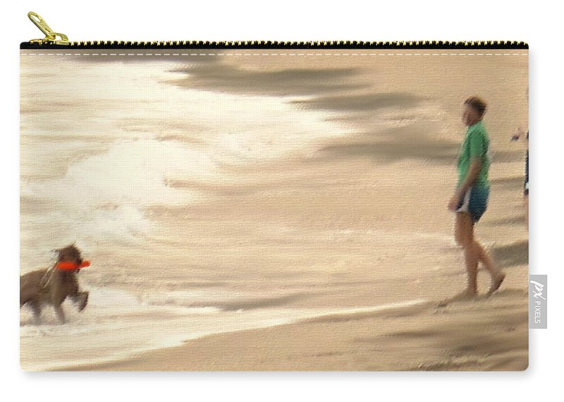 Dog Carry-all Pouch featuring the photograph Playing On A Beach by Ian MacDonald