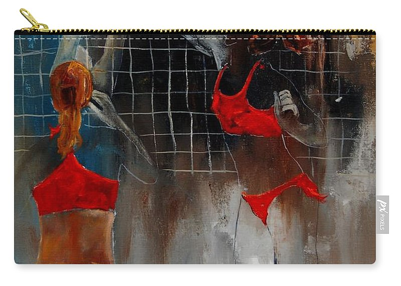 Sport Carry-all Pouch featuring the painting Playing Volley by Pol Ledent