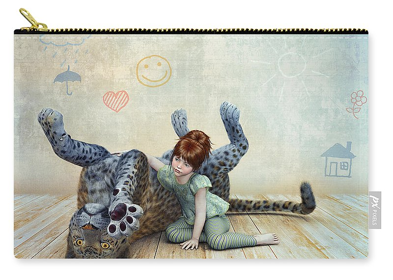 3d Carry-all Pouch featuring the digital art Playmate by Jutta Maria Pusl
