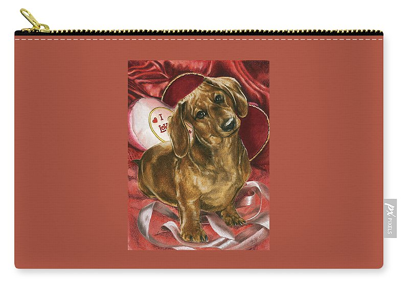Dogs Carry-all Pouch featuring the mixed media Please Be Mine by Barbara Keith