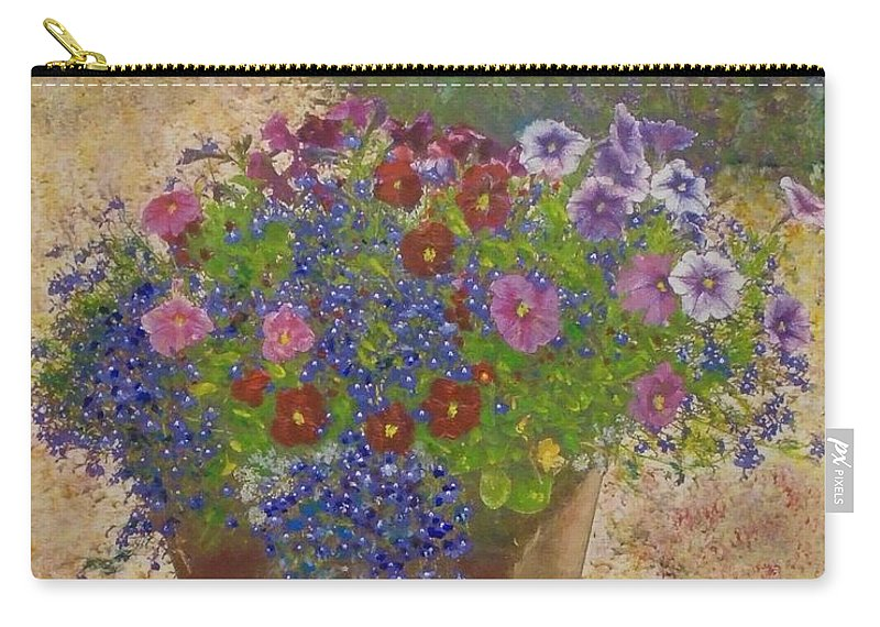 Flowers Carry-all Pouch featuring the painting Pleasure Pot by Richard James Digance