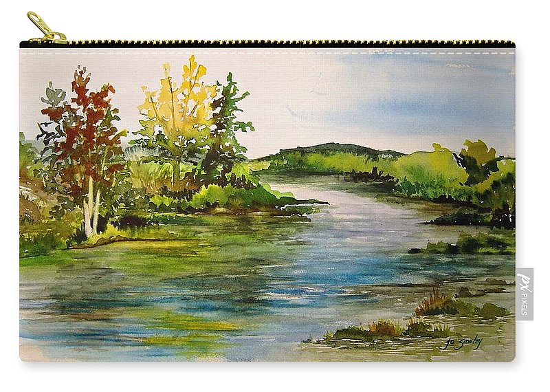 Grand Beach Manitoba Lagoon Carry-all Pouch featuring the painting Plein Air at Grand Beach Lagoon by Jo Smoley