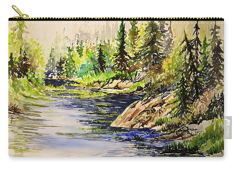 Nutimik Lake Manitoba Landscape Carry-all Pouch featuring the painting Plein Air At Nutimik Lake In Manitoba by Joanne Smoley