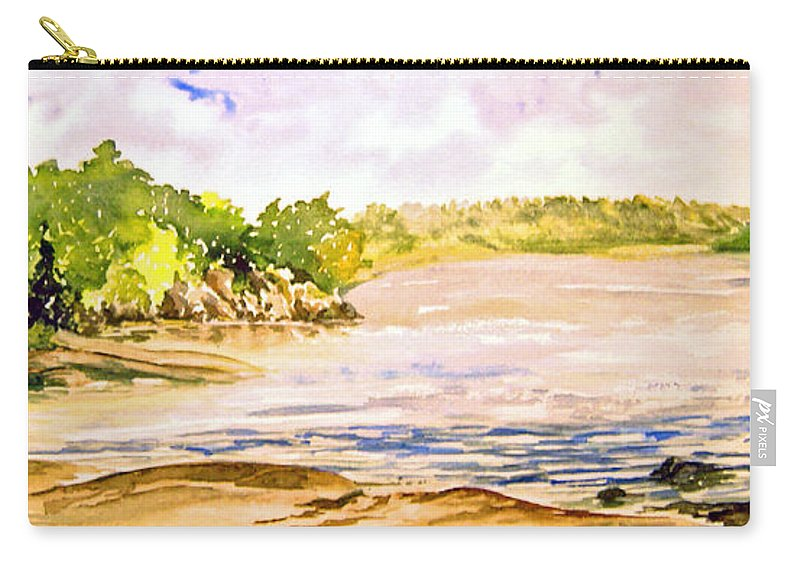 Pine Falls Manitoba Carry-all Pouch featuring the painting Plein Air At Pine Falls Manitoba by Joanne Smoley