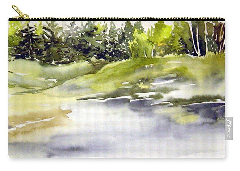 Nutimik Lake Whiteshell Manitoba Carry-all Pouch featuring the painting Plein Air At The Pond At Nutimik by Joanne Smoley