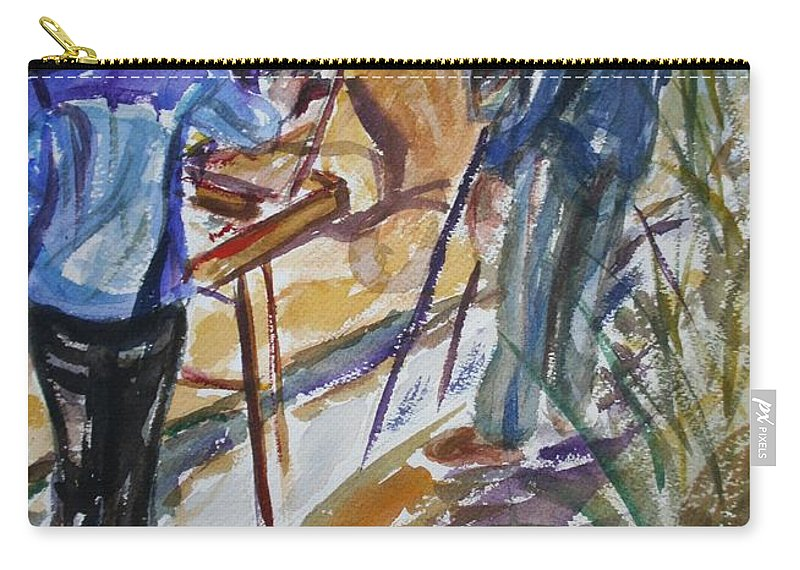 Impressionist Carry-all Pouch featuring the painting Plein Air Painters - Original Watercolor by Quin Sweetman