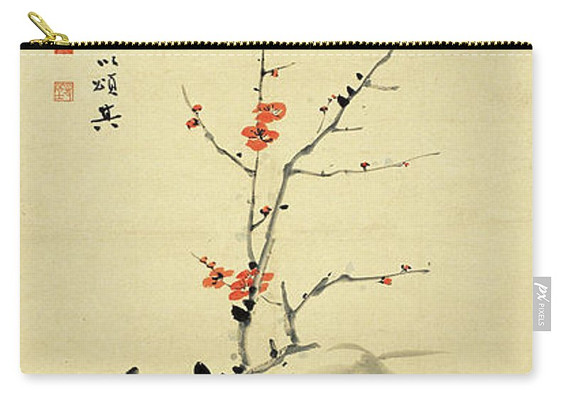 Lotus Plum Peony Flower Carry-all Pouch featuring the painting Plum And Bamboo by Zhang Daqian