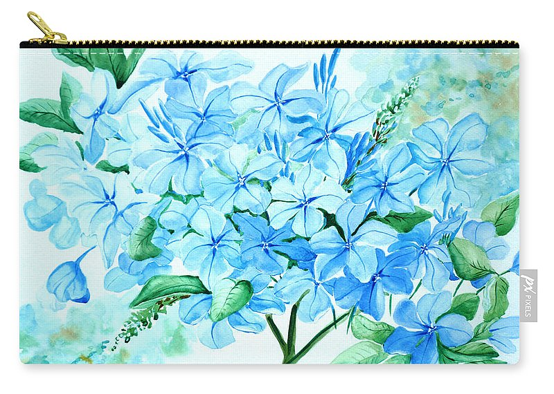 Floral Blue Painting Plumbago Painting Flower Painting Botanical Painting Bloom Blue Painting Carry-all Pouch featuring the painting Plumbago by Karin Dawn Kelshall- Best